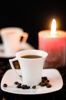 Free Candle And The Cups Of Coffee. Royalty Free Stock Image - 16350236