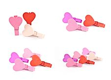 Colorful Wooden Pegs With A Heart. Stock Photos