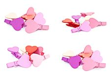 Colorful Wooden Pegs With A Heart. Royalty Free Stock Photo