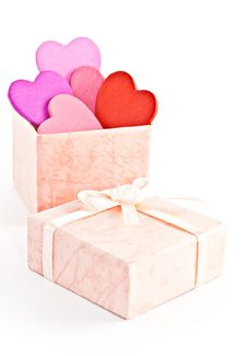 Wooden Heart-shaped Pink Color Gift Box Royalty Free Stock Images