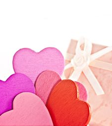 Wooden Heart-shaped Pink Color Gift Box Stock Image