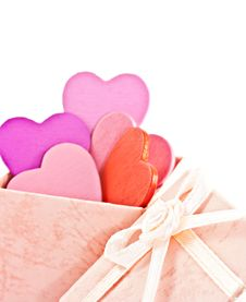Wooden Heart-shaped Pink Color Gift Box Stock Photography
