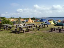 Free City Of Colorful Tents By The Beach Royalty Free Stock Photos - 16351838
