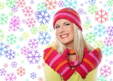 Free Seasonal Portrait Of Pretty Winter Woman Stock Images - 16352244