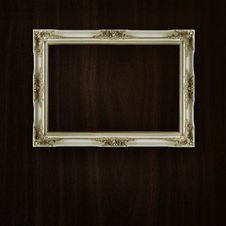 Vintage Frame On Dark Wood Stock Image