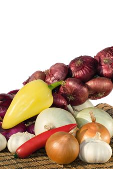 Onions, Garlic And Pepper Stock Photo