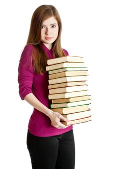 Free Young Girl With Pilе Of Books In Hands Stock Image - 16353171