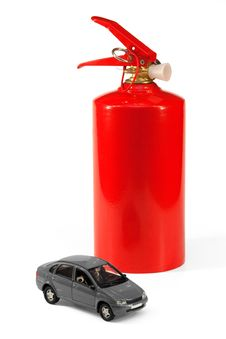 Car And A Fire Extinguisher Royalty Free Stock Photography