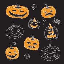 Free Halloween Pumpkins Royalty Free Stock Image - 16355396