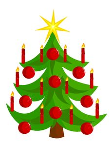 Vector Christmas Tree With Candles Stock Photos
