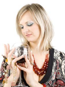 Free Lady And Wine. Royalty Free Stock Photography - 16356427