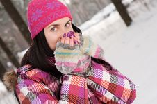 Free Young Woman Outdoor In Winter Royalty Free Stock Photography - 16356787