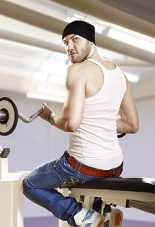 Free Man In Gym With Bar Stock Image - 16356861
