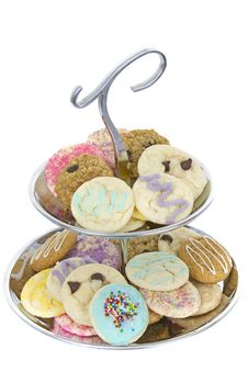 Free Fancy Silver Party Tray Of Homemade Cookies Stock Image - 16357101