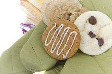 Free Homemade Cookies On Cooking Mitts Royalty Free Stock Image - 16357136