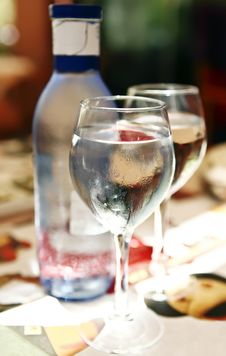 Two Glasses Of Cold Mineral Water Stock Photos