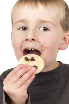 Free Little Boy Enjoys Eating Cookie Stock Photos - 16357443