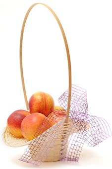 Free Nectarines In Basket Royalty Free Stock Image - 16357596