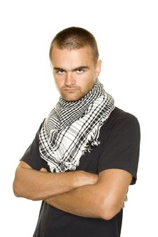 Young Man In A Palestinian Scarf Royalty Free Stock Photos