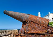 An Old Rusty Cannon In The Castle Of El Morro In H Stock Images