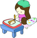 Free Young Girl Painting Picture On Table Royalty Free Stock Photo - 16360535