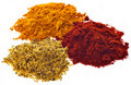 Free Three Different Powdered Spices On A White Backgro Royalty Free Stock Photos - 16364008