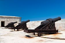 Free Group Of Ancient Cannons In A Stone Castle On A Cl Stock Image - 16360311