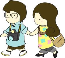 Cute Boy And Girl Walking Together Royalty Free Stock Photography