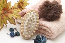 Towel With Massage Brush Royalty Free Stock Photo