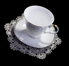 Free White Cup On Small Doily Stock Images - 16361404
