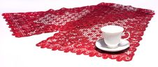 Free White Cup On Red Doily Royalty Free Stock Images - 16361409