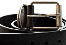 Free Black Leather Belt On A White Background Stock Images - 16361864