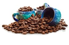 Free Coffee Beans And Cups On A White Background Stock Photo - 16361980