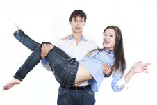 Free Young Man Carrying Girlfriend In His Arms Royalty Free Stock Image - 16362186