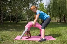 Free Mother And Daughter Engage In Fitness Royalty Free Stock Image - 16363376