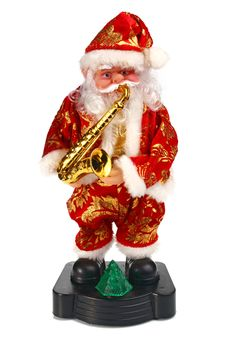 Toy Santa Claus Play The Saxophone Stock Image