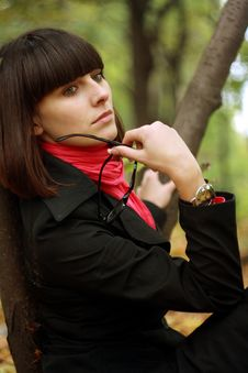 Free Portrait Girl In Black Raincoat Stock Photos - 16367373