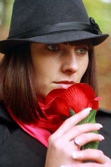 Free Girl In Hat With Red Rose Royalty Free Stock Photos - 16367418