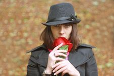 Free Girl In Hat With Red Rose Stock Photo - 16367430