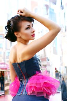 Free Young And Attractive Lady In Black And Pink Dress. Stock Photos - 16367783