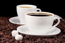 Free Coffee On Black Royalty Free Stock Images - 16368449