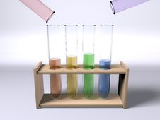 Mixing Chemicals In Multi Colour Test Tubes Royalty Free Stock Photo
