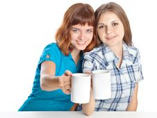 Free Two Teen-girls Are Drinking Tea Royalty Free Stock Photography - 16368697