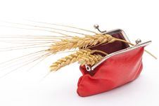 Free Red Purse With Wheat Ears Stock Photo - 16369490