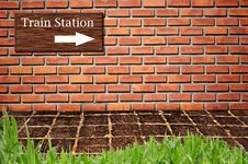 Free Train Station On Brickwall Pattern Stock Images - 16369594