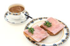 Free Toasts With Ham And A Cup Of Coffee Stock Images - 16369674