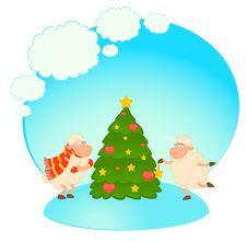 Free Cartoon Funny Sheep Dresses Up A Fir-tree. Royalty Free Stock Photos - 16369768