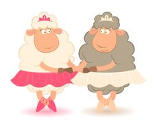 Free Cartoon Funny Sheep - Ballet Dancer. Stock Images - 16369934