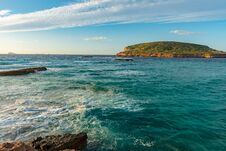 Ibiza Sunset From Cala Conta Comte In San Jose At Balearic Islands Spain. Royalty Free Stock Images