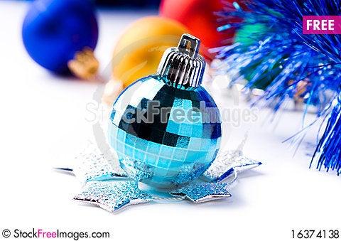 Free Decorative Balls And Stars Royalty Free Stock Photos - 16374138